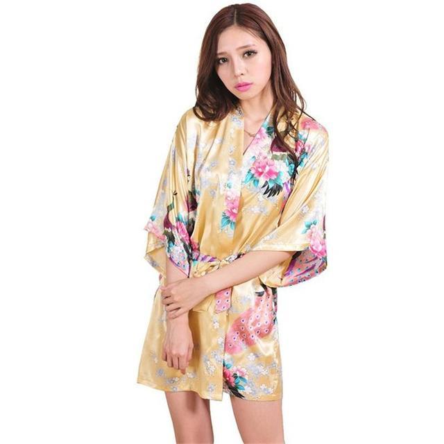 Gold Chinese Women Silk Rayon Mini Robe Sexy Kimono Bath Gown Intimate  Lingerie Pajama Plus Size S M L XL XXL XXXL ZS031 5563450cd