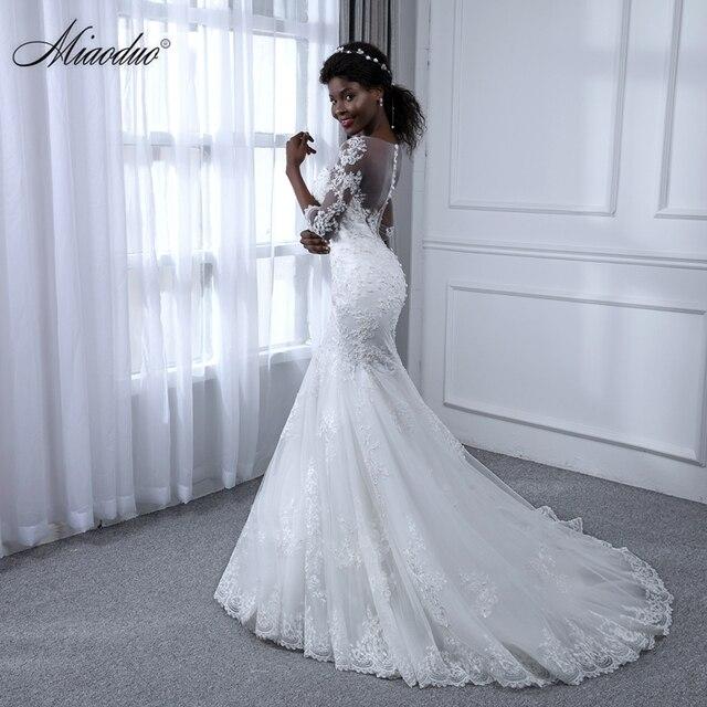 Miaoduo Vestido de Noiva Manga Longa Mermaid Pearls Lace Wedding ...