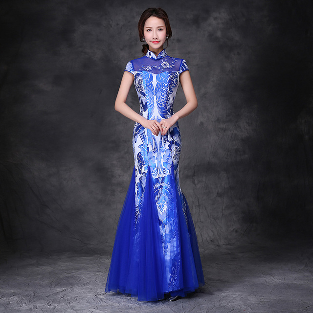 Royal Blue and white porcelain pattern fishtail lace yarn cheongsam ...
