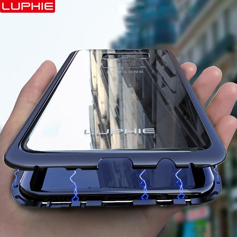 Caso LUPHIE de Metal Magnético Para Samsung Galaxy S9 S8 Plus Nota 8 9 Ímã Caso Bumper Limpar Tampa De Vidro Para samsung Nota Caso 8 9