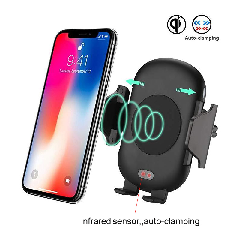 Qi Wireless fast Car Charger for Iphone X Samsung S8 S9 with Infrared Sensor Automatic Open Close Car Charger