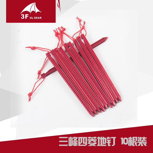 3F UL GEAR 10pcs Tent Nail Pegs 18cm Aluminum Tent Stake with Rope