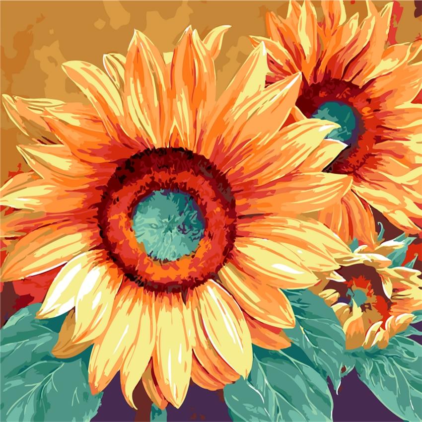 Us 7 86 50 Off Bunga Matahari Mekar Gambar Lukisan Nomor Modern Dinding Gambar Seni Diy Mewarnai Tangan Dicat Kanvas Dekorasi Rumah 2017 Hadiah In