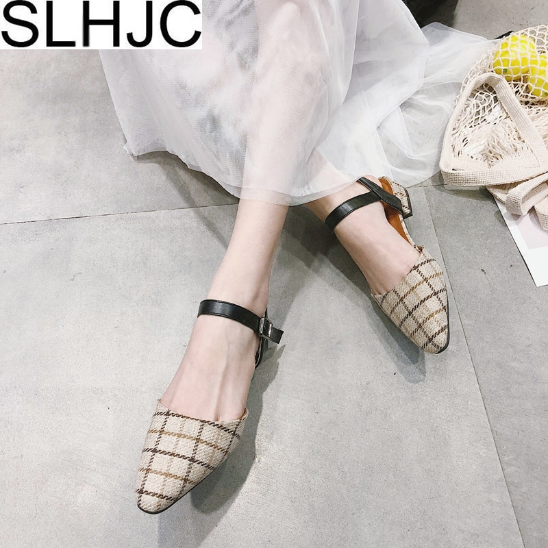 SLHJC Women Flats Fashion British Style Plaid Spring Summer Shoes Flat Heel Pointed Toe Ankle Strap Shallow Mouth Female Sandals eiswelt shoes spring summer fashion rivet flats party pointed flock women shoes wedding shoes glitter flat ladies shoes zjf84