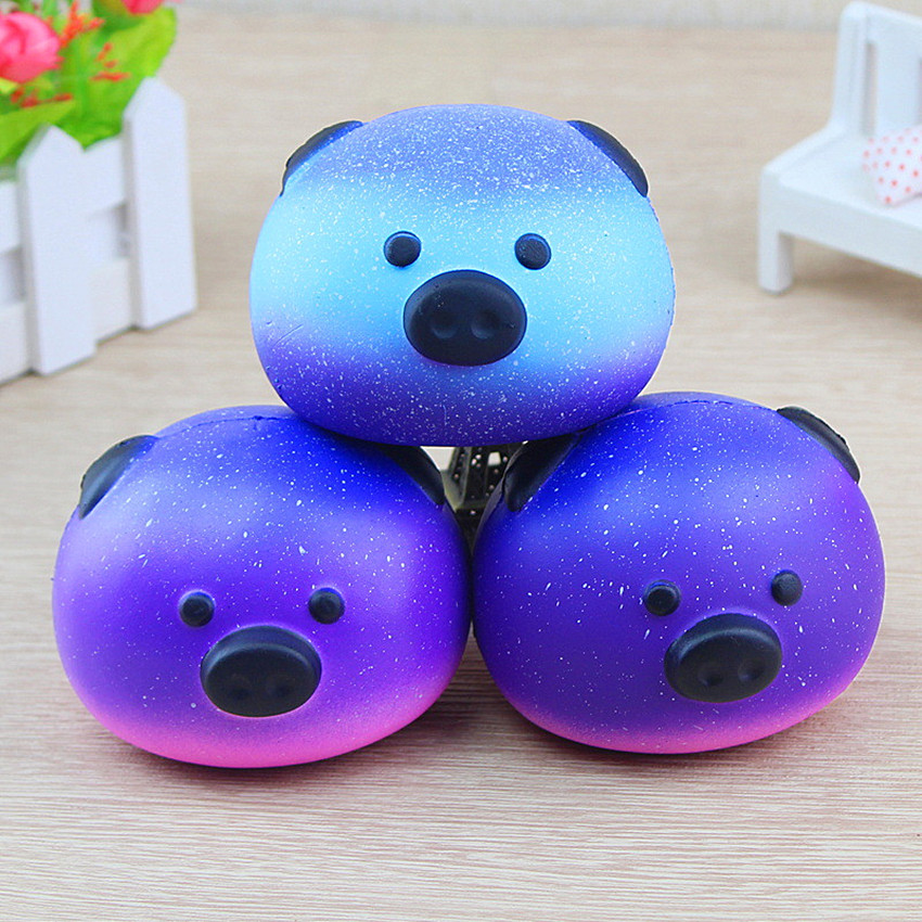 Cute Blue Panda Cream Scented Squishy Slow Rising Squeeze Kid Toy Squeeze Galaxy 10CM Pig Doll Novelty Funny Gadgets Anti Stress