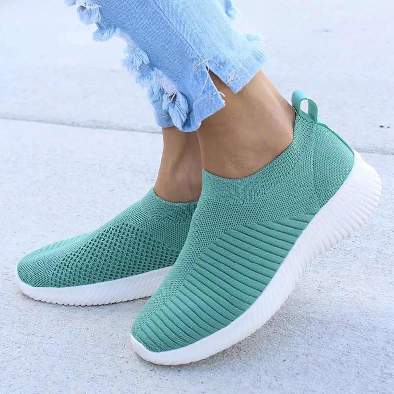 01dd3e896 Женская обувь Вязаные носки Сникерсы женские весенне-Летние слипоны на  плоской подошве женские лоферы больших