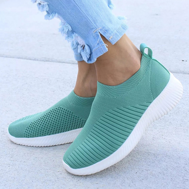 Женская обувь Вязаные носки Сникерсы женские весенне-Летние слипоны на плоской подошве женские лоферы больших размеров на плоской подошве ...