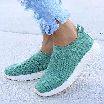 Женские кроссовки с вязаными носками, весенне-Летние слипоны на плоской подошве, лоферы больших размеров для прогулок