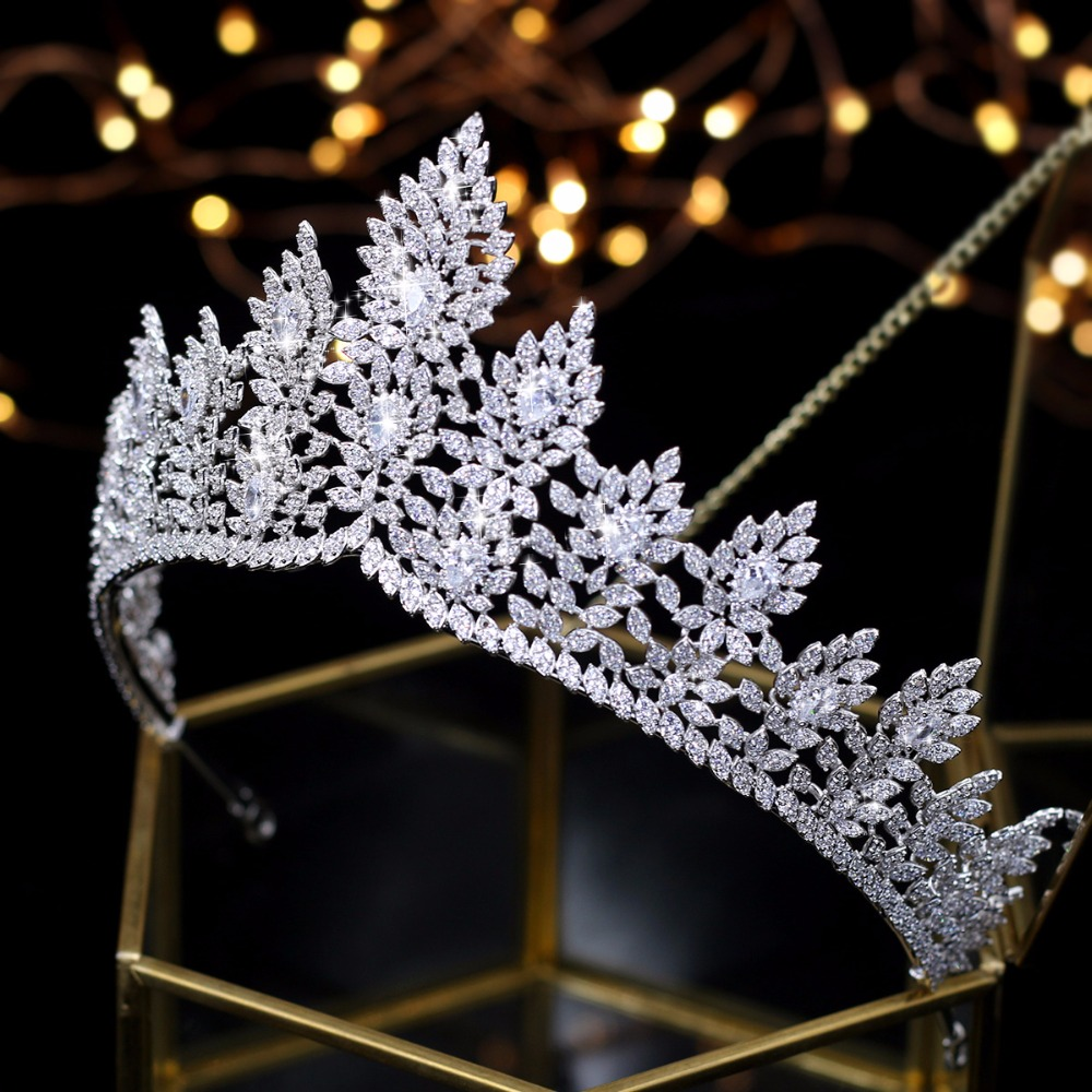High quality zirconia wedding hair accessories bridal tiara award ceremony queen crown