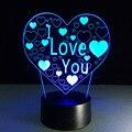 VD 3D Conduziu a Luz do Dia dos namorados Presente Criativo Candeeiro de Mesa a arte da Escultura de Luz Noturna Inteligente Botão de Toque Luminaria de mesa Lampade
