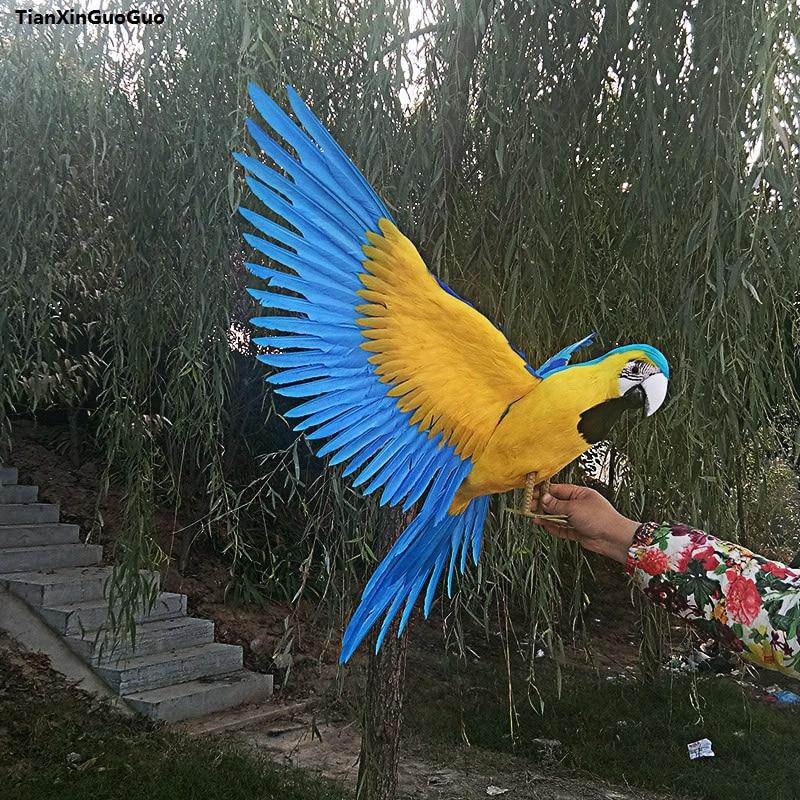 Jaune et bleu plumes oiseau grand 60x100 cm simulation perroquet oiseau propagation ailes modèle dur, maison jardin décoration cadeau s1174