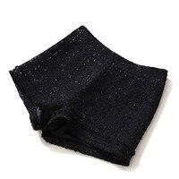 Black Tibetan blue plaid tweed shorts 2019 spring / autumn women's shorts winter fashion bag hip boots shorts