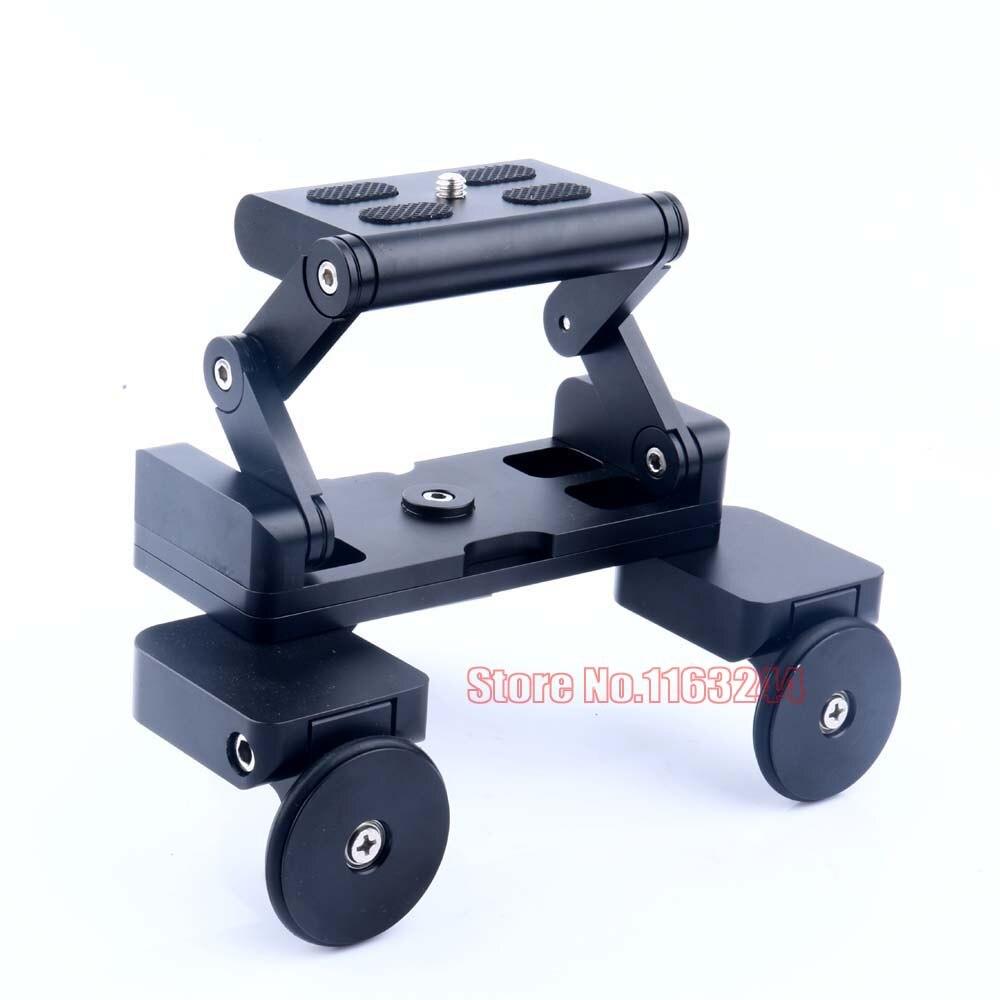 bilder für Neue Mini Dreirad Table Top Dolly 1/4 ''Schraubenmontage für 60D 70D D5300 DSLR Kamera/Gopro/Faltbare