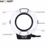 K & F Konzept KF-150 Macro Ring Licht Flash E-TTL Speedlite LCD Display Wireless Slave Funktion mit 6 stücke Adapter ringe Für Canon