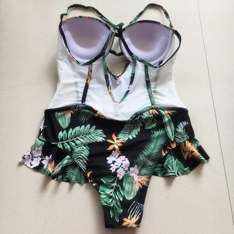 abdbf572 2018 tropical peplum una pieza traje de baño mujeres traje de baño verde  hoja floral cut out monokini ruffled traje de baño maillot de Bain en Trajes  de ...