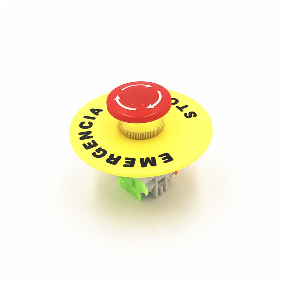 Dynamic 660v 10a Lay37 Red Sign Emergency Stop Mushroom Push Button Switch With 90mm Emergency Stop Yellow Legend Plate Switches