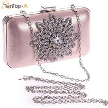 129e021ada6b3 Tentop-a شحن مجاني جديد زهرة الماس بو براثن مساء حقيبة الفضة سبيكة سلسلة  صغيرة
