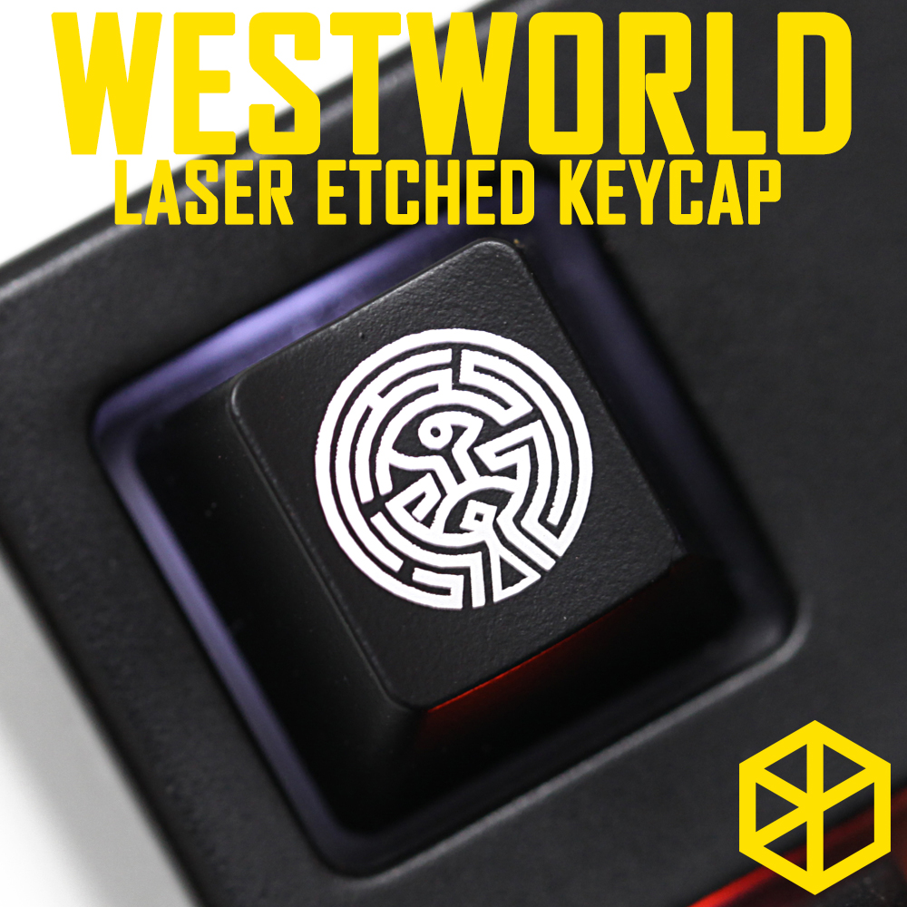 Novelty Shine Through Keycaps ABS Etched Black Red Esc Westworld The Maze Human Body West World Logo