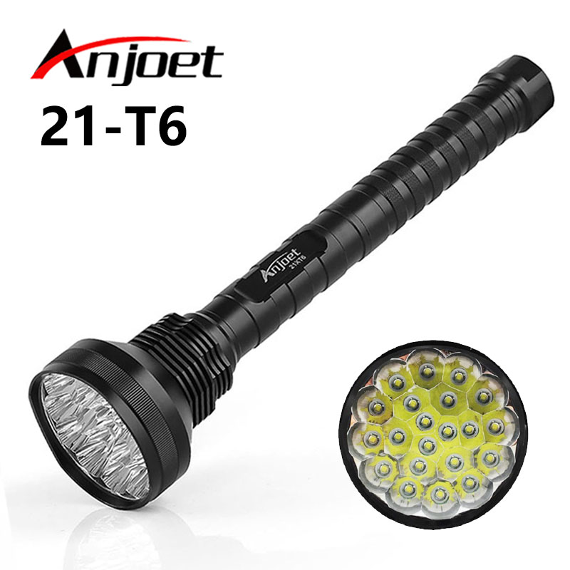 Anjoet 30000 lumen 21 LED XML T6 18650 26650 exploration torch light flashlight tactical lantern,self defense camping light lamp 24 xml t6 led flashlight 30000 lumen 18650 26650 exploration torch light tactical lantern self defense camping light lamp