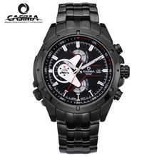 CASIMA de hombres reloj de cuarzo de acero inoxidable de moda deportiva reloj luminoso cronómetro cronómetro a prueba de agua 100 m relojes de Pulsera #8202