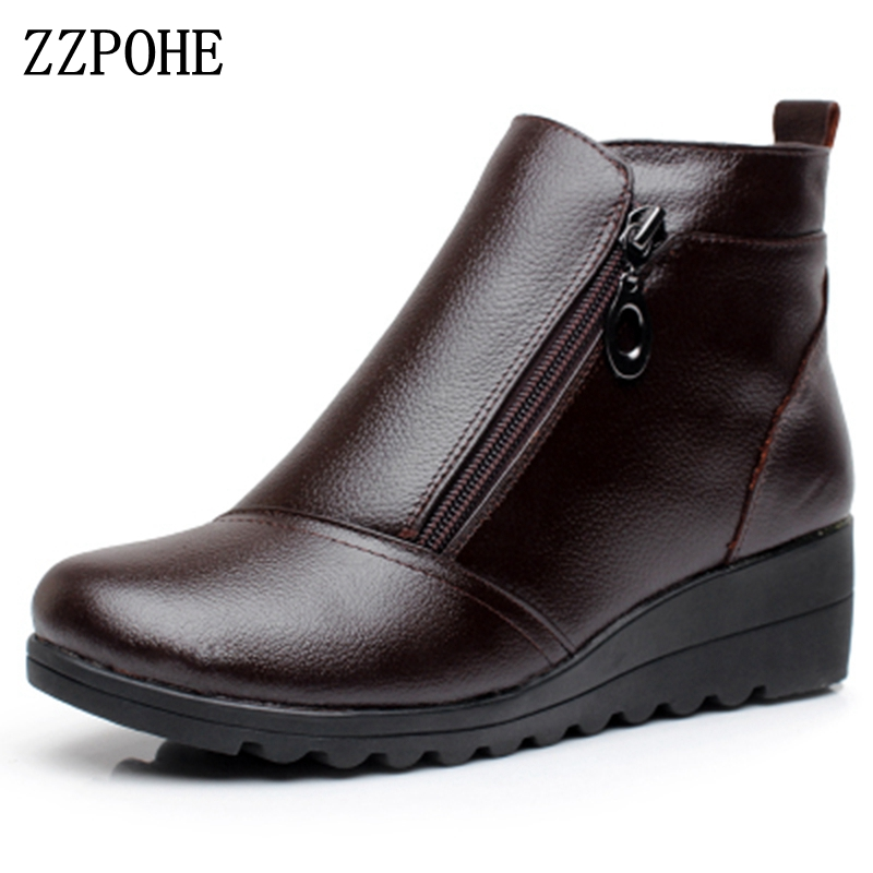 ZZPOHE Women Boots Winter Shoes Fashion Woman Genuine Leather Wedges Ankle Boots Casual Keep warm Women