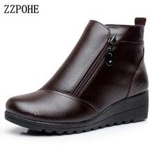 ZZPOHE Frauen Stiefel Winter Schuhe Fashion Frau Echtes Leder Wedges Stiefeletten Casual warm Halten Frauen Schnee Stiefel plus größe 43