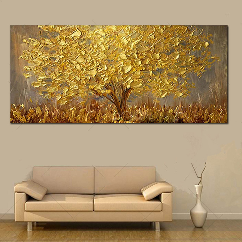 Pintados À mão Faca Pintura A Óleo Sobre Tela Da Árvore de Ouro Grande Pinturas Para Sala de estar Moderna Arte Da Parede Abstrato paleta 3D fotos