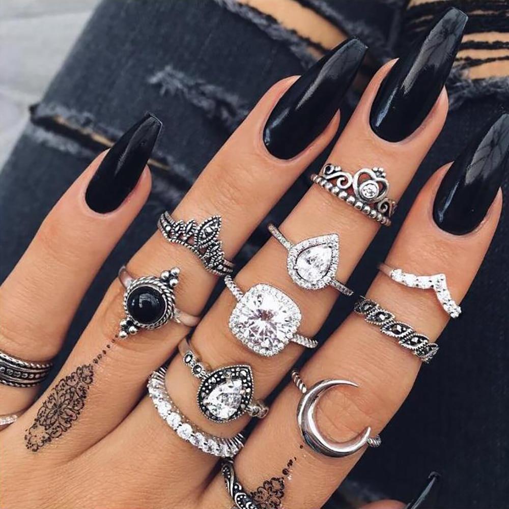 a3d5ac7c6826 FAMSHIN 15 unids set moda Vintage anillo de mujer de plata de piedra de  Midi anillos de dedo