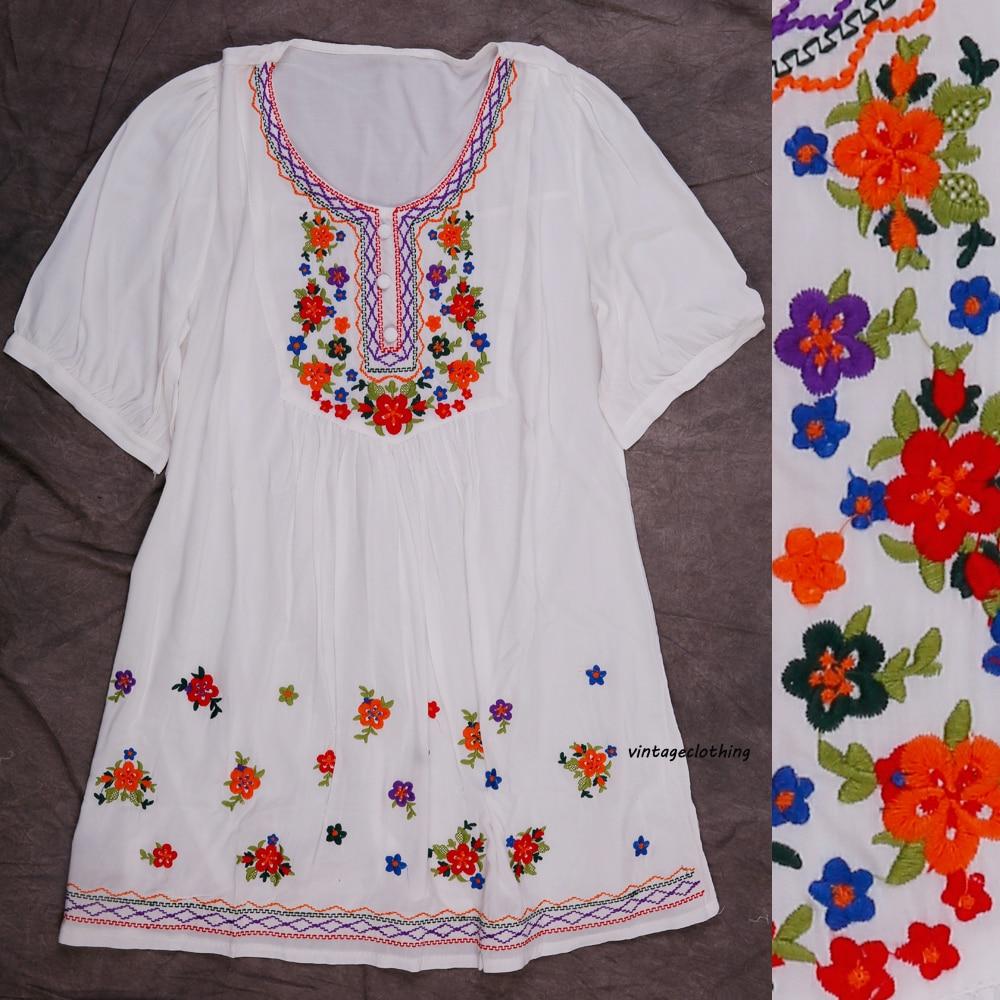 Algodon Del Bordado Del Vestido Mini Vintage 70 S De Flores De