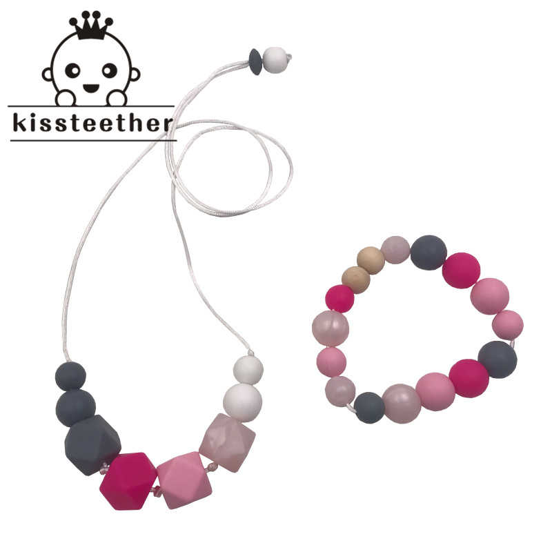 Bracelet Letter Mom DIY Necklace Chew Beads BPA-Free Silicone Baby Teether