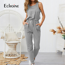 Fashion Sleeveless Jumpsuit Women Black Casual Rompers Womens Jumpsuits 2019 New