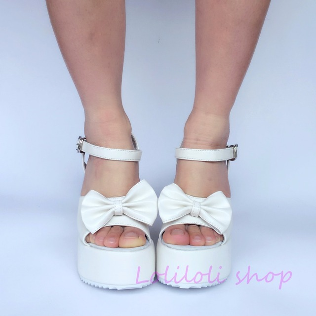 628e0628180bd Princess sweet lolita shoes loliloli yoyo Japanese design custom large size  summer muted white platform wedges sandals an1469