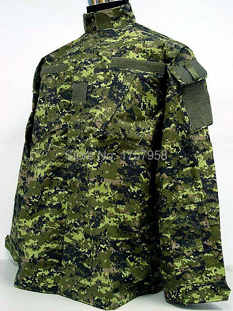 Military Camouflage Canadian CADPAT Digital Woodland Camo ACU Style Uniform Set CADPAT Digital Woodland Camo Shirt and Pants drawstring spliced camo jogger pants