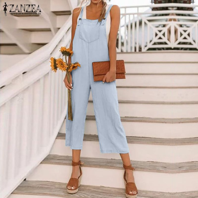 S 5XL ZANZEA Elegant Work OL Wide Leg Jumpsuits 2019 Women Long Overalls Summer Casual Solid Starppy Rompers Playsuits Female