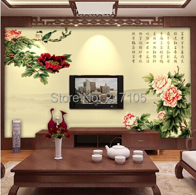 Customretro Chinese wallpaper,Flower and bird wallpaper for living room bedroom wall background wall waterproof PVC wallpaper