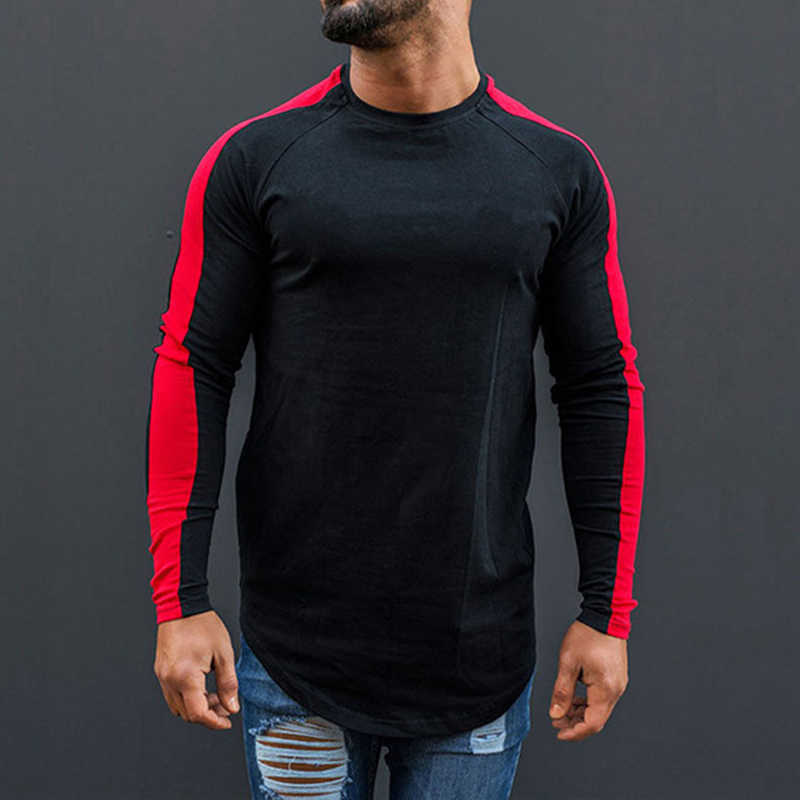 2019 Men Spring Autumn Fashion Long Sleeve Top Tee Slim Fit tshirt Long Blouse Top Gym Sports Casual T-shirt S/M/L/XL/2XL/3XL