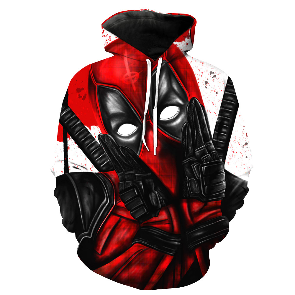 Newest 3D Print Super Hero Deadpool Hoodie Casual Hoodie Sportswear Hooded Sweatshirt Classic Anime Character Hoodie XS-7XL