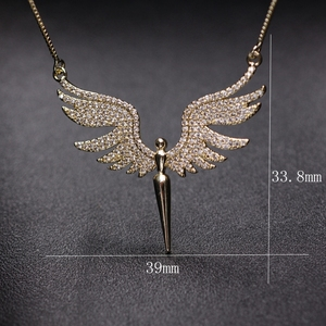 Image 5 - Charm Angel Wing Pendant Necklace For Women Full Micro Cubic Zirconia Paved 2019 Fashion Gold Color& Silver Color Angel Necklace