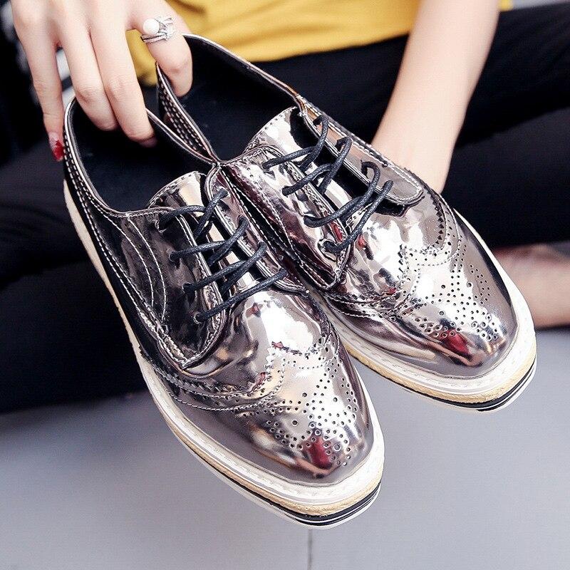 Oxford Chaussures black Loisirs 3 Mode Femme Femmes Appartements Solide silver De Gold Creux color Automne 2017 Printemps zq01wzF