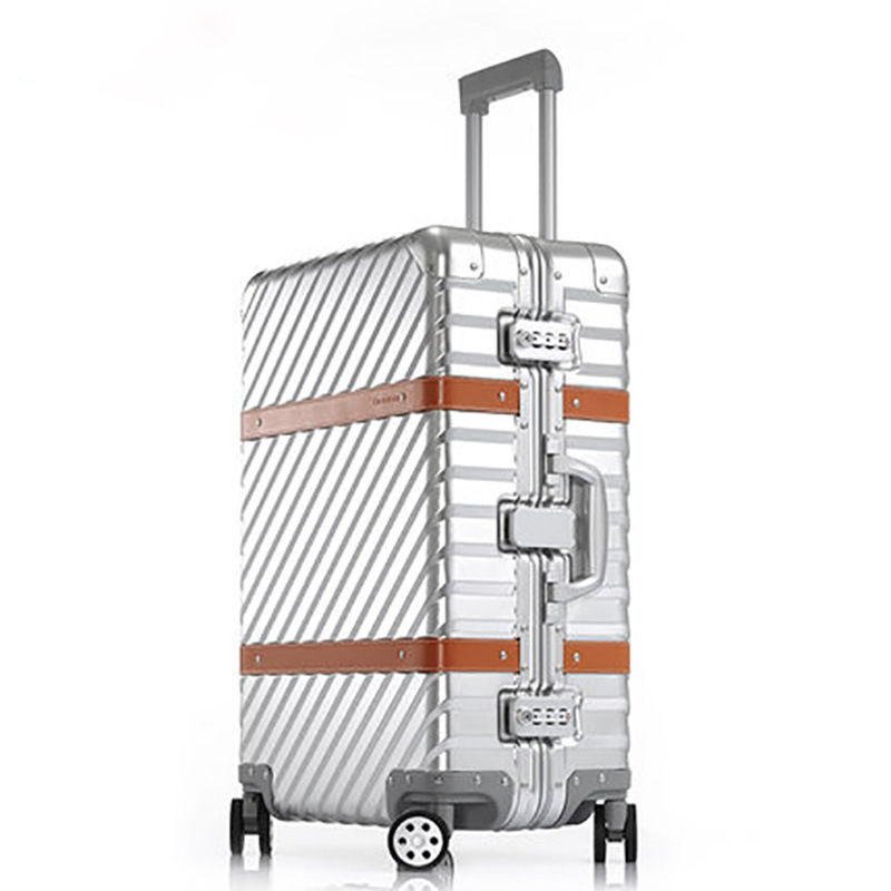 New fashion inclined stripe aluminium magnesium alloy rod box vintage suitcase metal box with leather luggage female board VERRY free shipping 100% aluminium luggage magnesium alloy luggage universal wheel lockbox metal box men and women on board boxes