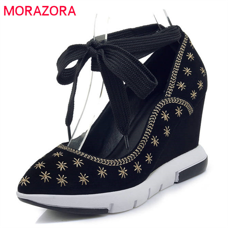MORAZORA 2018 top quality cow suede leather shoes pointed toe women pumps elegant shallow wedges high heels shoes woman blackMORAZORA 2018 top quality cow suede leather shoes pointed toe women pumps elegant shallow wedges high heels shoes woman black
