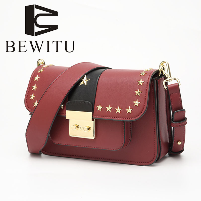Rivet star package shoulder women bag for 2018 new autumn and winter Hit color cover fashion handbags wild Messenger bag every new small package special offer hit color box package fashion lock small bag shoulder bag in early autumn