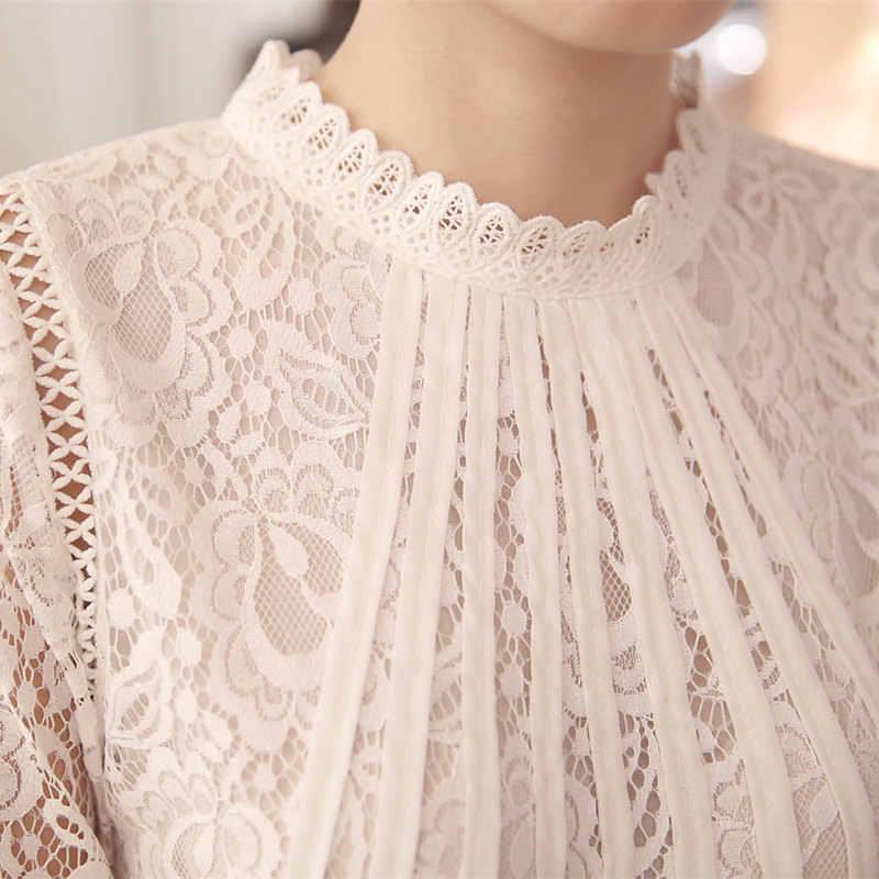 2019 新夏レディースホワイト Blusas 女性の長袖シフォンレース編みはブラウス女性服フェミニンブラウス 51C