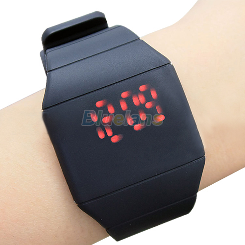 Luxury Ultra-thin  Mens Lady Women Touch Digital Red Led Silicone Sports Wrist Watch Silicone Band Novelty Item 027R