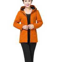 Special Middle Aged Women Round Collar Jacket Spring Fall Long Sleeve Ladies Hoodie Zipper Mom Coat