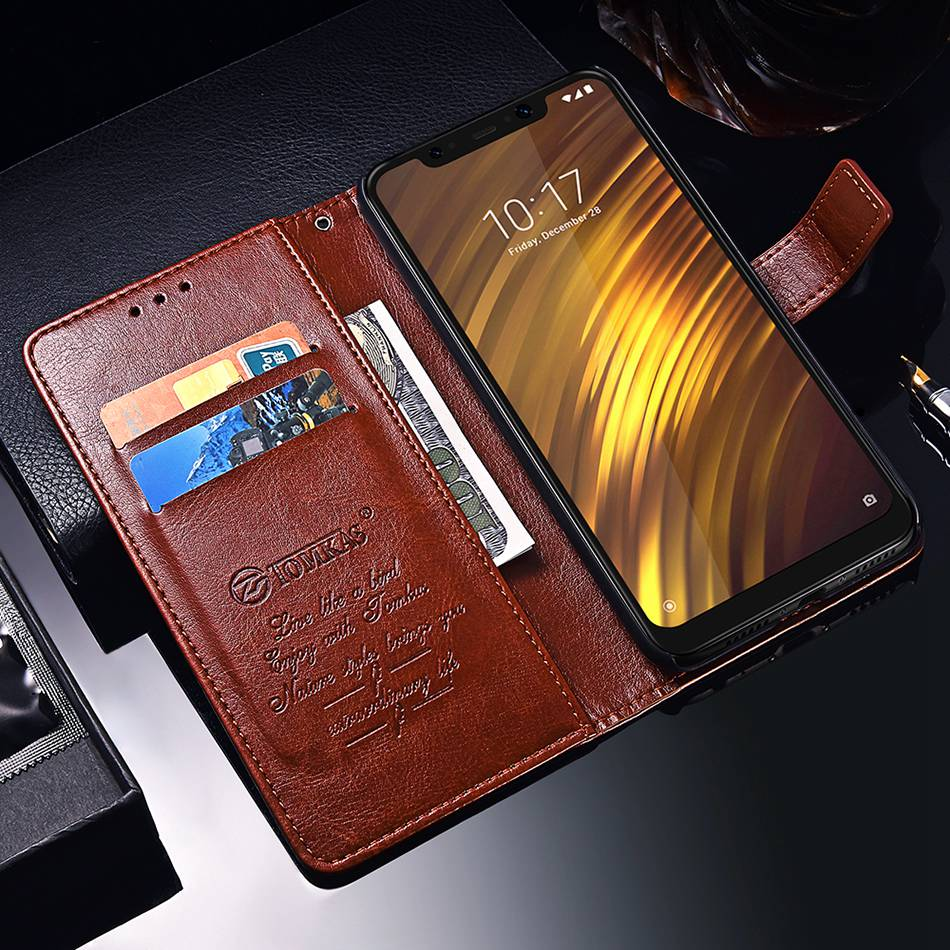 TOMKAS Pocophone F1 Case POCO F1 Global Flip Wallet With Stand Vintage Leather Silicone Back Cover Case For Xiaomi Pocophone F1 (13)