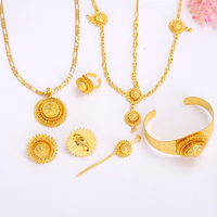 Bangrui Ethiopian Wedding Jewelry 24k Real Gold Plated Women Jewelry Hair Chain Hair Stick Pendant Bangle