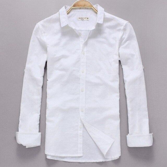 f976a7771fd Повседневная белая льняная рубашка мужская рубашка с длинным рукавом  брендовая мужская рубашка модная Осенняя льняная рубашка
