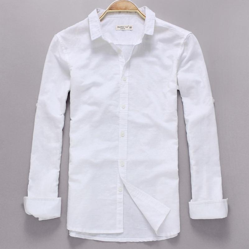 Alkalmi fehér vászon ing férfi hosszú ujjú ing ruha márka férfi ing divat Fall vászon ing férfi pamut len camisa masculina