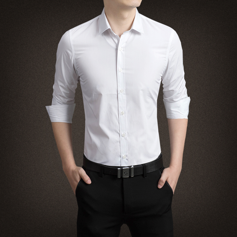 2017 Men Shirt Long Sleeve Slim Fit Solid Mens Dress